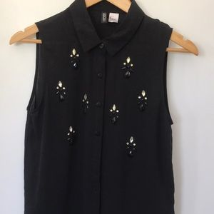 Black button up top